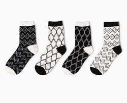 Модные Для мужчин белый и черный Носки для девочек Новинка полосы сетки короткие носки зима-осень Для мужчин 100 хлопок в трубах Носки для