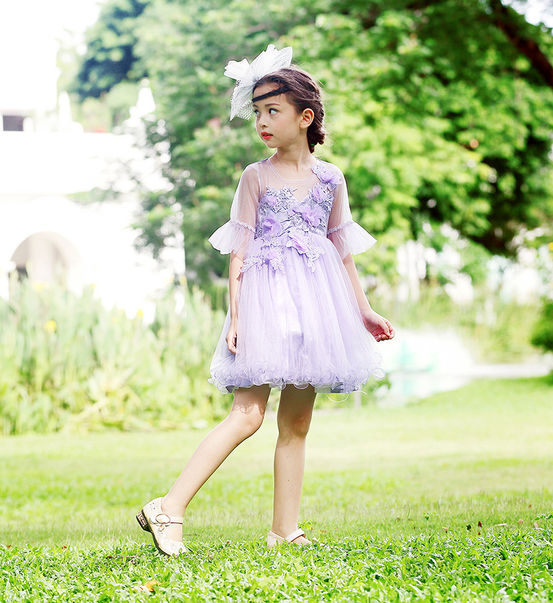 2018 A-Line Flower Dirl Dresses For Wedding Lace Pageant Dresses for Girls Knee-Length Long Sleeve Communion Dresses