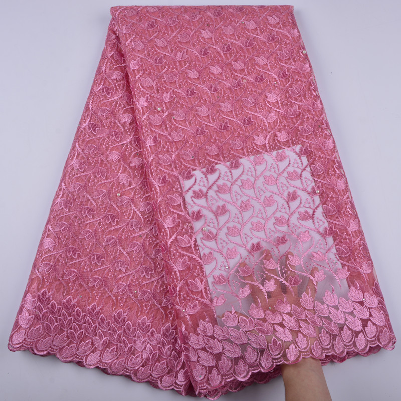 2019 High Quality African Lace Fabric With Stones Tulle Lace Fabric New Design Nigerian Tulle Lace