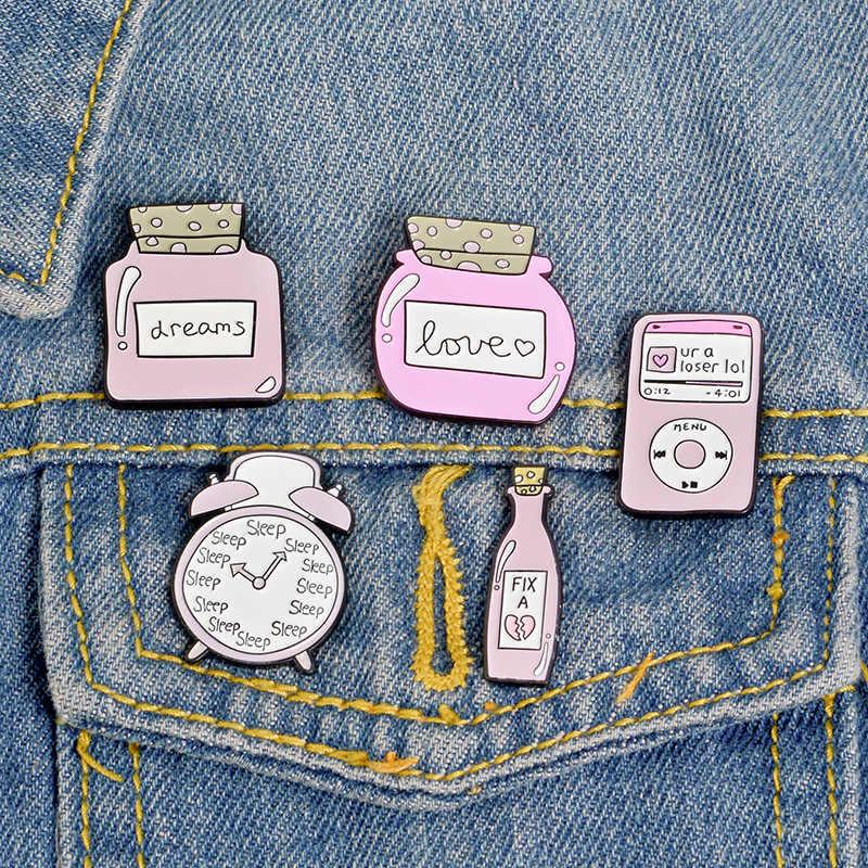 น่ารักสีชมพู Sleep นาฬิกาปลุก Dream Love ขวดเข็มกลัดการ์ตูน FIX Magic Potion MP3 เพลงเคลือบ Pins Denim เสื้อ Badge สาวของขวัญ
