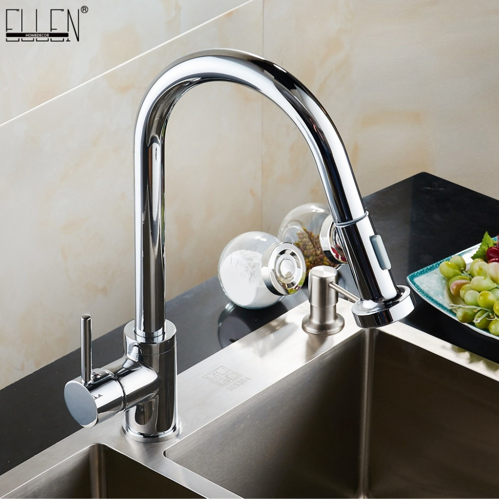 Kitchen Faucets  Pull Out Kitchen Taps Single Hole Handle Swivel 360 Degree  hot and cold Water Silver Mixer Tap EK89019-in Kitchen Faucets from Home Improvement    1