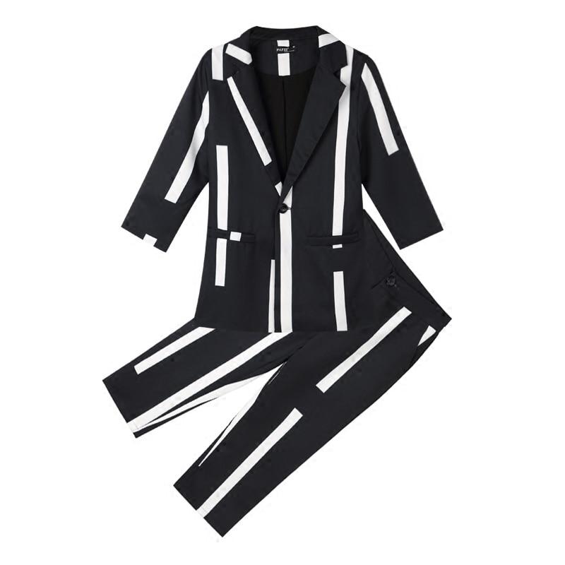 Tb18603 Nouveau Pièce Sept De D'été Slim Rayé Femmes Pantalons Dames Tempérament Noir Mode point 2018 Deux Costume Sept Manches tgqaTn7Aw