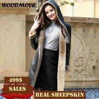 Для женщин настоящие кожаные пальто с меховой воротник из натуральной кожи Шапки Для женщин дубленки из овчины куртка Для женщин Зимние Ори