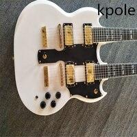 Auf Lager, Double Neck 1275 modell e-gitarre 6 string + 12 string Combo, weiß 1275 doppel necks e-gitarre