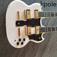 In Stock,Double Neck 1275 model Electric guitar 6 string+12 string Combo, white 1275 double necks electric guitar
