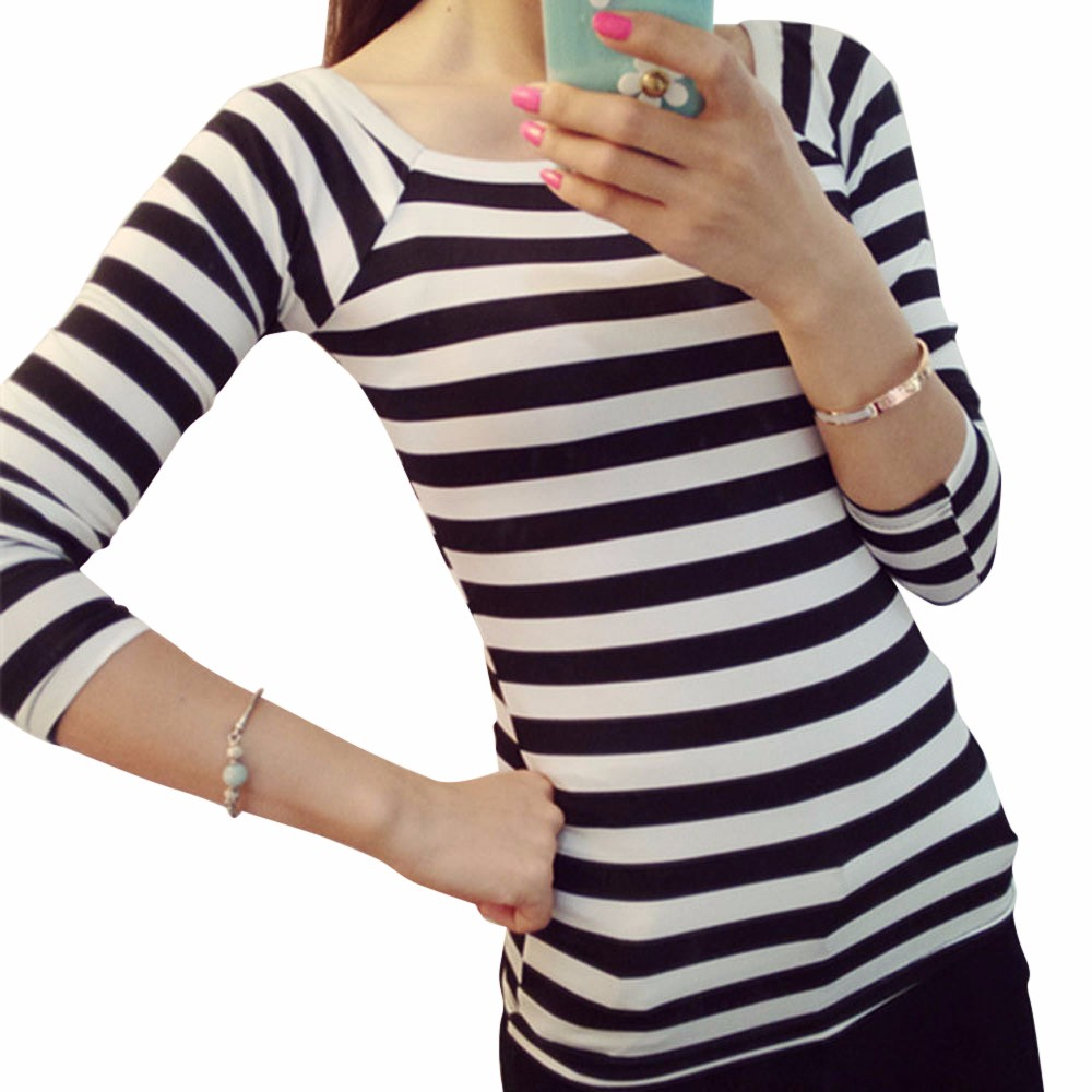 Black and white striped t shirt xxl - Black And White Striped T Shirt Xxl 2017 Spring High Quality Women Tops O Neck