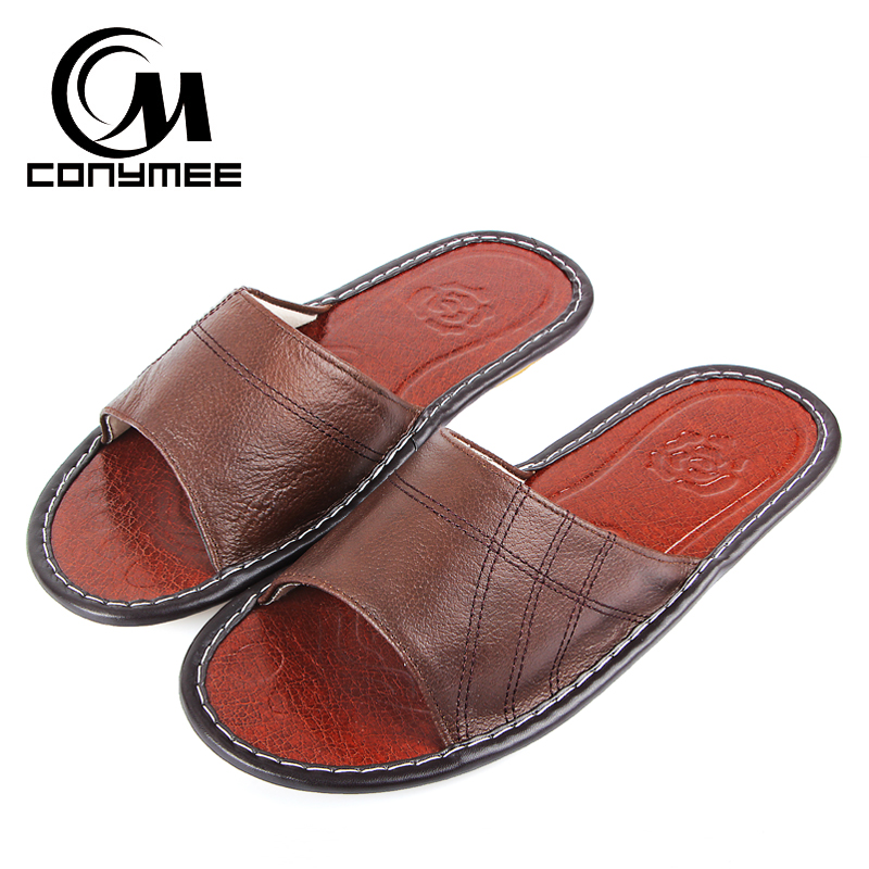 CONYMEE 2018 Summer Mens Genuine Leather Slippers Shoes Men Casual Sneakers For Home Beach Sandals Flip Flops Big Size Sandalias