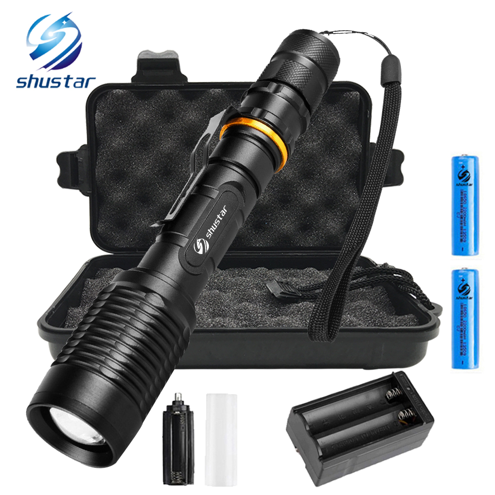 Tactical Led flashlight Lasting battery life flashlight CREE XML-T6/L2 8000 lumens torch zoomable 5 modes light use 2 x 18650