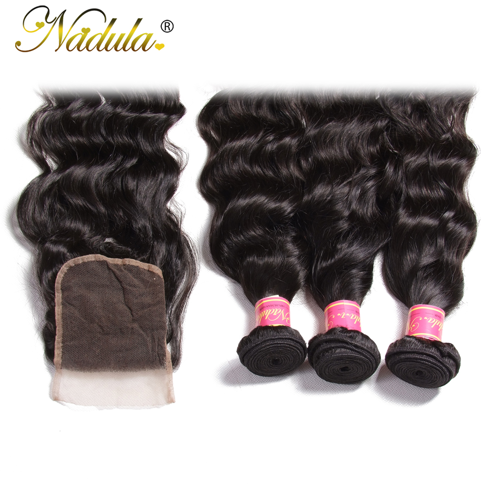 Image 5 - Nadula Hair Malaysian Natural Wave Bundles With Closure 100% Human Hair With 4*4 Lace Closure Free Part Natural Color Remy Hair-in 3/4 Bundles with Closure from Hair Extensions & Wigs