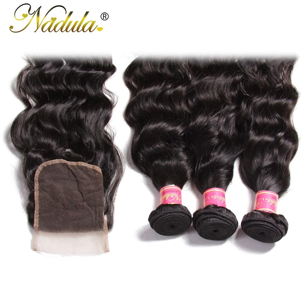 Nadula Hair Malaysian Natural Wave Bundles With Closure 100% Human Hair With 4*4 Lace Closure Free Part Natural Color Remy Hair