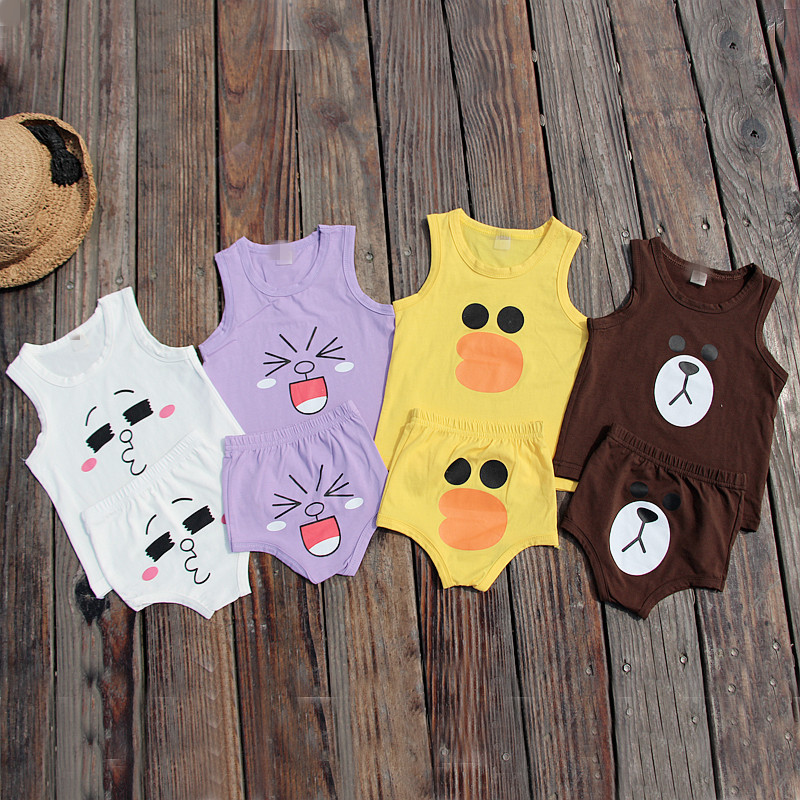 Summer boys and girls cute expression vest, shorts, two sets of baby cotton cartoon home suit
