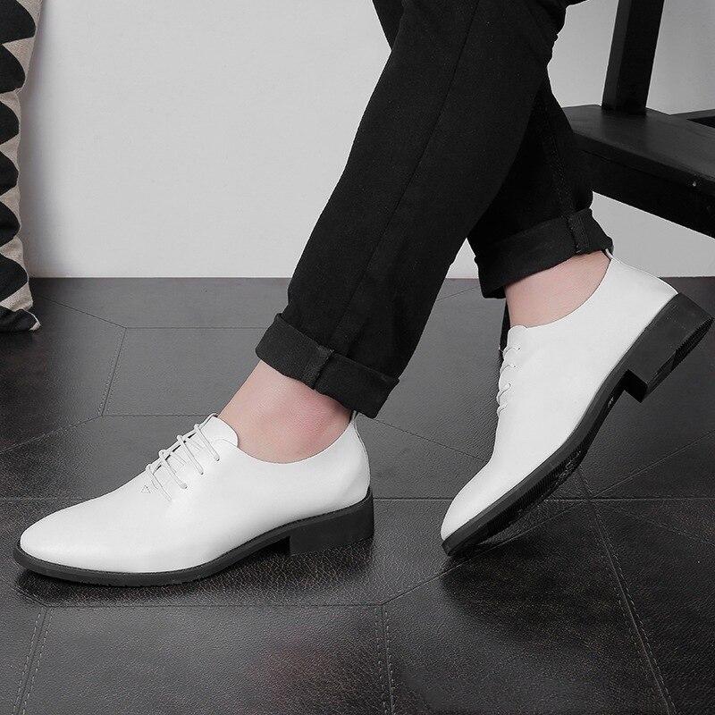 Lace Homens Erkek Ayakkabi Preto branco Simples Se Sapatos Estilo up Formais Dos Qualidade Moda Mycolen Vestem Oxford Marca Altura ZxP5qCRTw