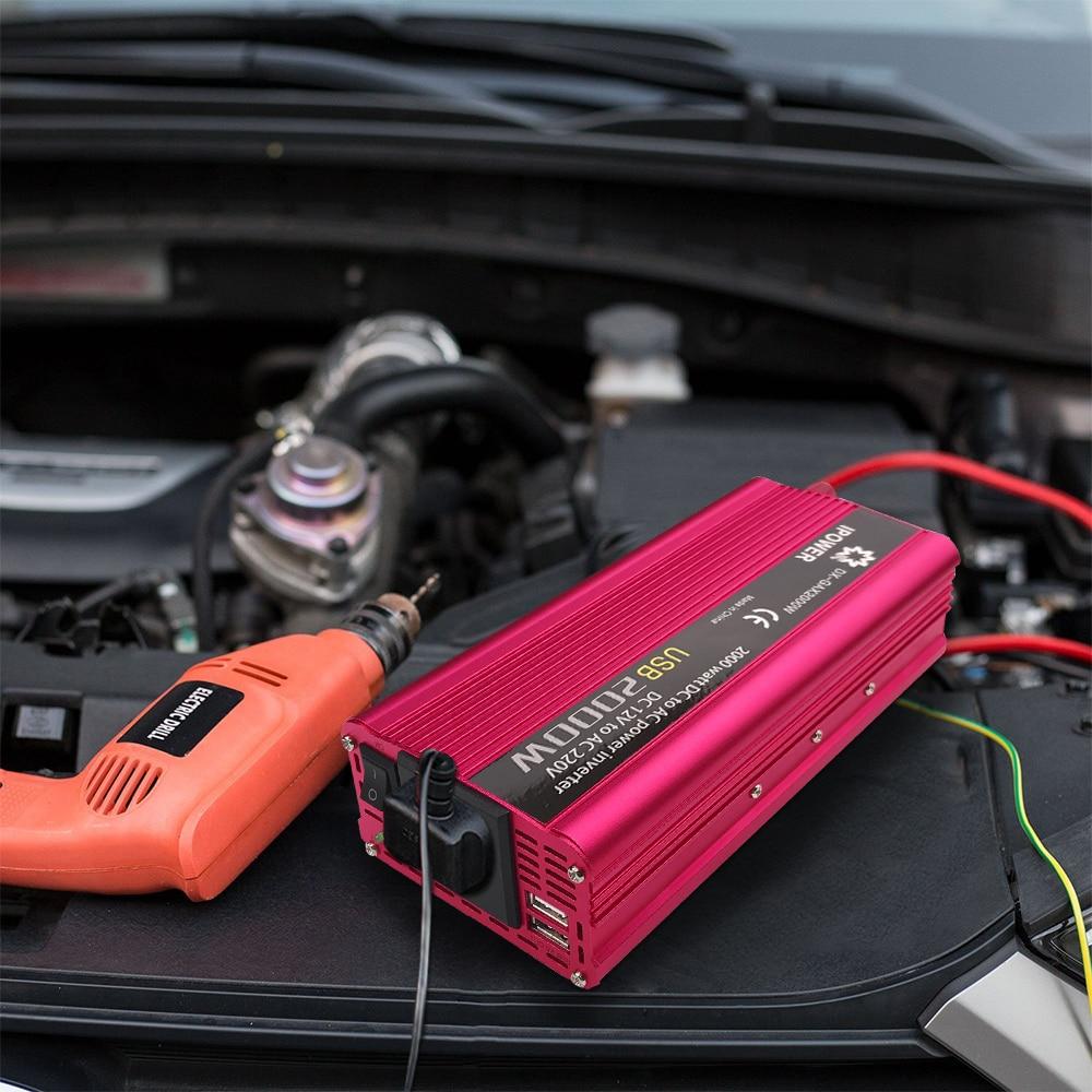 Portable Car LED Inverter 2000W WATT DC 12V to AC 110V Charger Converter 2018 US