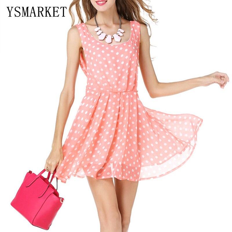 ჱ2017 verano Polka Dot imprimir mini vestido rosado lindo elegante ...