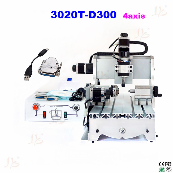 no tax to eu city! CNC lathe 3020 T-D300 4axis 300W CNC router CNC milling machine with USB adapter can transfer parallal port no tax to russia cnc 5 axis t chuck type include a aixs