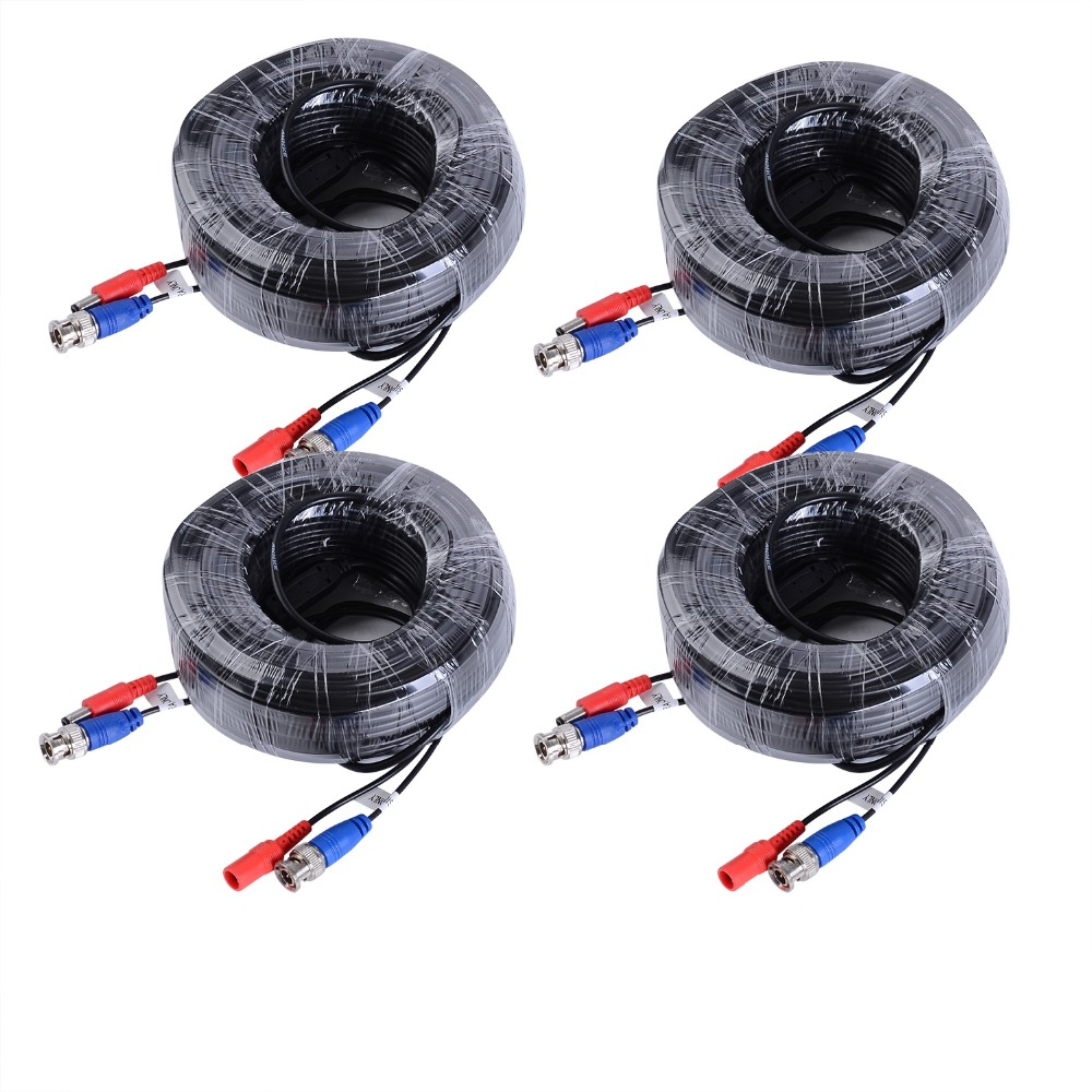 SANNCE 4 Packed White / Black color 30M / 100 Feet BNC Video Power Cable For CCTV Camera DVR Security System 30m video