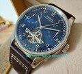Neue blau zifferblatt 43mm PARNIS Automatische Selbst Wind mechanische bewegung männer uhren power reserve Mechanische uhren zdf5-in Mechanische Uhren aus Uhren bei