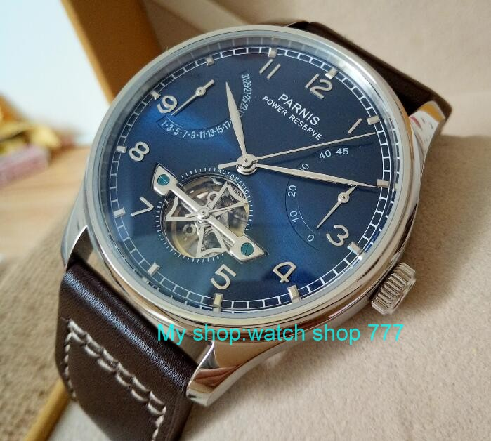 new blue dial 43mm PARNIS Automatic Self-Wind mechanical movement men watches power reserve Mechanical watches zdf5
