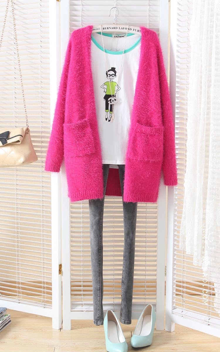 Free shiping New Korean Women Cardigan cotton Sweet Candy Color Knit Blouse Mohair Sweater Knitwear ladies long loose sweater