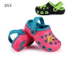 ZYJ летний детский отверстие Дачная обувь Шлёпанцы и сабо; пляжные сандалии; обувь с мультяшками для девочек мультяшный Противоскользящий детские сандалии, обувь