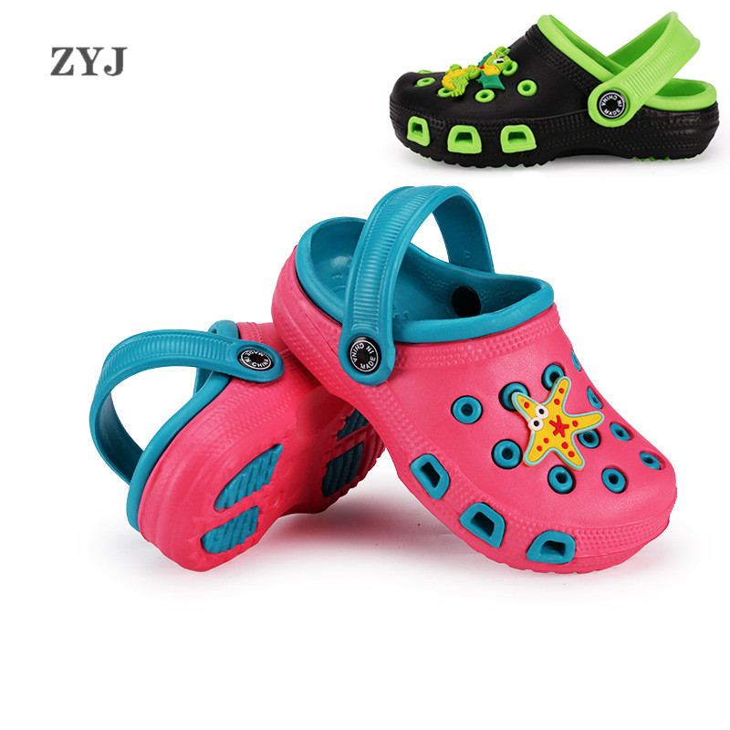 ZYJ Summer Children's Hole Garden Shoes Mules & Clogs Beach Sandals Kids Cartoon Shoe Girls Cartoon Anti Slip Baby Sandal Shoes