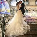 Lace Long Sleeve Wedding Dresses V-Neck Detachable Skirts Elegant Arabic Bridal Gowns Lace tulle skirts  Mermaid Dress  Z759