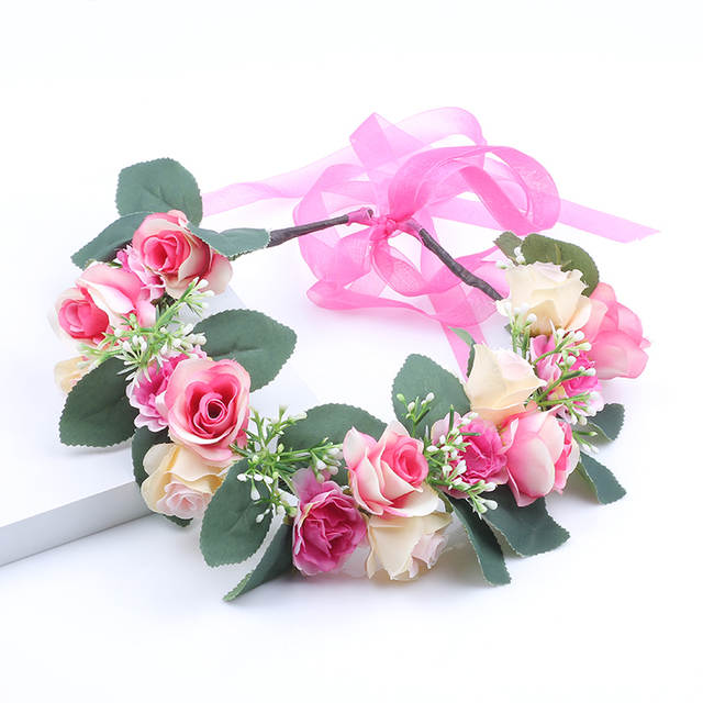 Rose flower Christmas Hairband Kids Party Floral garland handmade  Adjustable girls flower crown Rose Flower Wreath aeca5f2ba7c