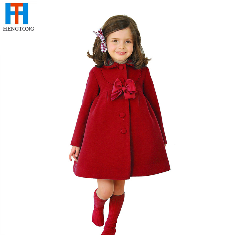 Casaco infantil 2016 Girls Outerwear Coats Children Fashion Woolen Trench Kids Winter Jacket Warm Cotton Clothes Girl Trench