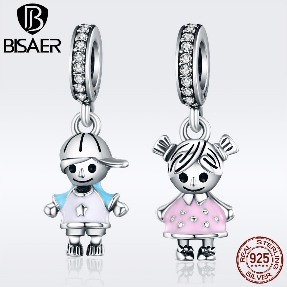 BISAER 925 Sterling Silver Charm Little Boy and Girl Couple Pendant Charm fit Girls Charm Bracelet 925 Silver Jewelry GXC544