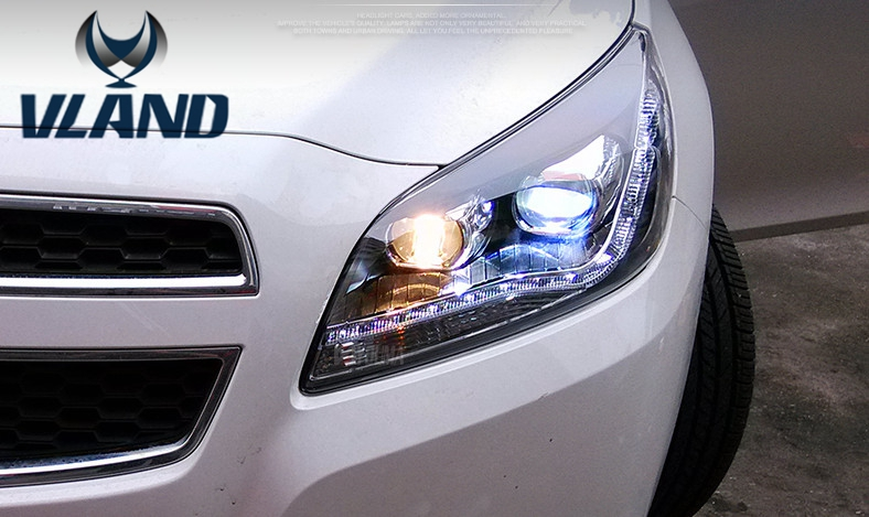 VLAND manufacturer for Car head lamp for MALIBU LED Headlight 2012 2014 Head ligh with H7 Xenon lamp and Day light vland 2pcs car light led headlight for jetta headlight 2011 2012 2013 2014 demon eyes head lamp