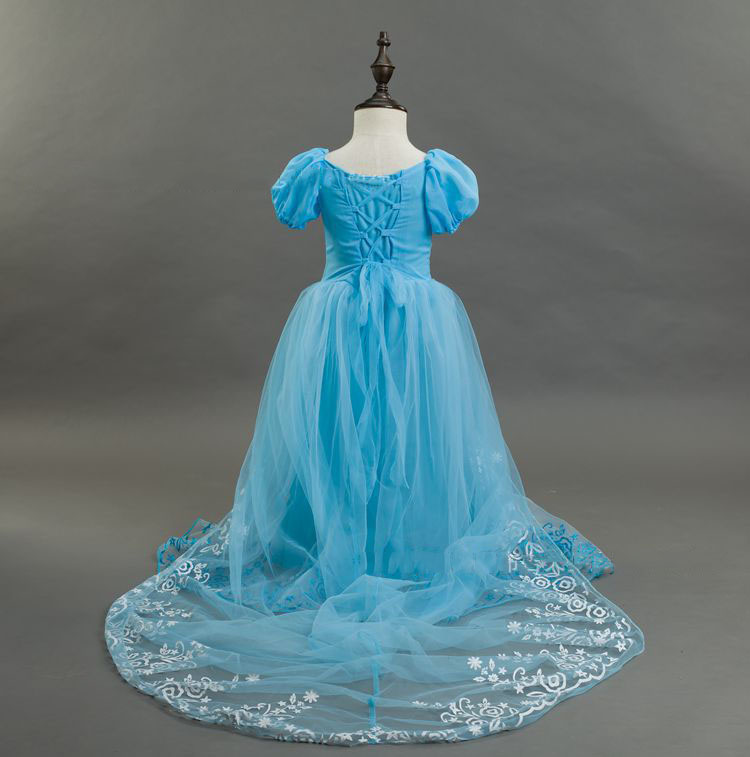 Cheap-party-gowns Blue Short Puffy Sleeve Girls Party Dress Kids Elegant Wedding Evening Children Long Pageant Dresses lole шорты lsw0898 lively short xs evening blue
