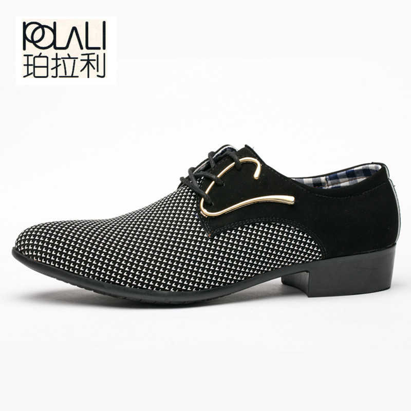 98ed2279f98 POLALI Office Men s Dress Suit Shoes Italian Style Wedding Casual Shoes  Derby Shoes Man Leather Shoes