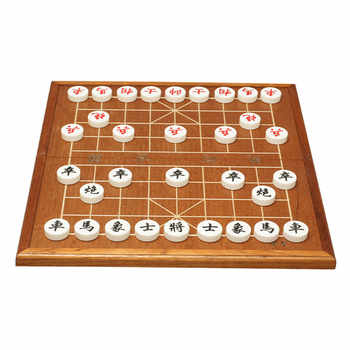 BSTFAMLY Chinese Chess Xiang Qi Wooden box Acrylic Pieces Folding board 34.7*37.2cm 32Pcs/Set Puzzle Game Kids Gift C02