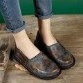 2017 Zapatos Del Resorte Mujeres de Los Planos Del Cuero Genuino de Los Pies Redondos Resbalón en Hecho A Mano de La Vendimia de Las Mujeres Zapatos Casuales