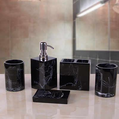 Marble Texture Resin Bathroom Five-piece European Creative Wash Set Soap Box Toothbrush Holder Lotion Bottle Tray Bathroom Suppl