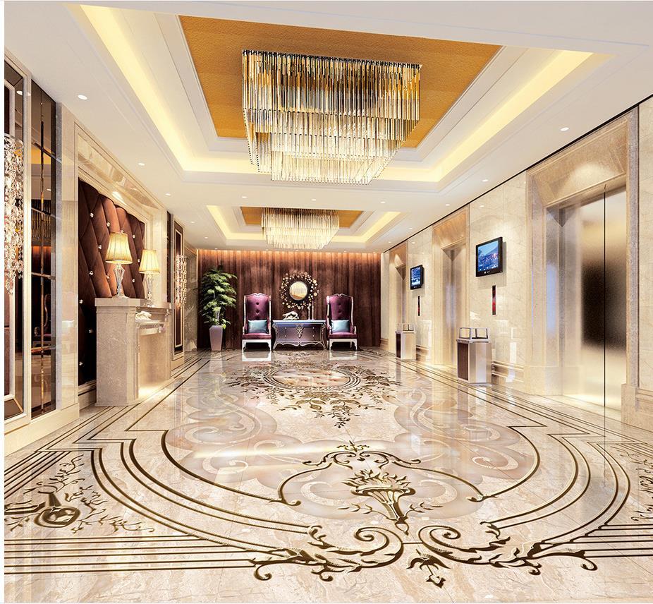 Papier peint de sol photo personnalisé 3d wallpaprs sol marbre fleur Photo personnalisée auto-adhésif 3D étage décoration de la maison