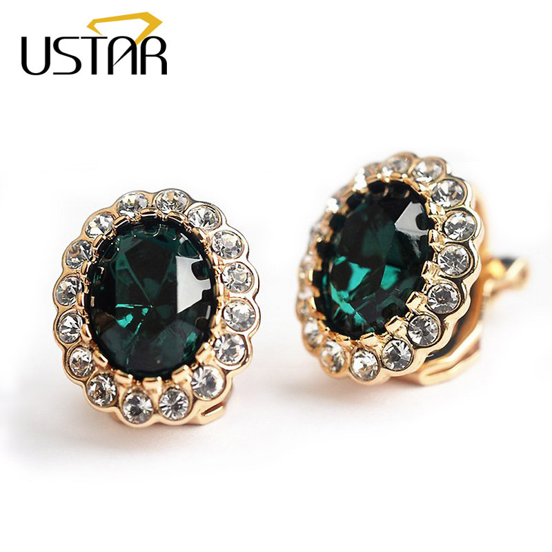 USTAR Green Zircon Crystal clip earrings for women Rose Gold color fashion Jewelry earrings female Brincos ear cuff top quality
