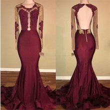2019 African Black and Gold Mermaid Prom Dresses Long Sleeves Open Back Appliques Beads See Through Burgundy Evening dress burgundy see through long sleeves frilling details zip mini dress