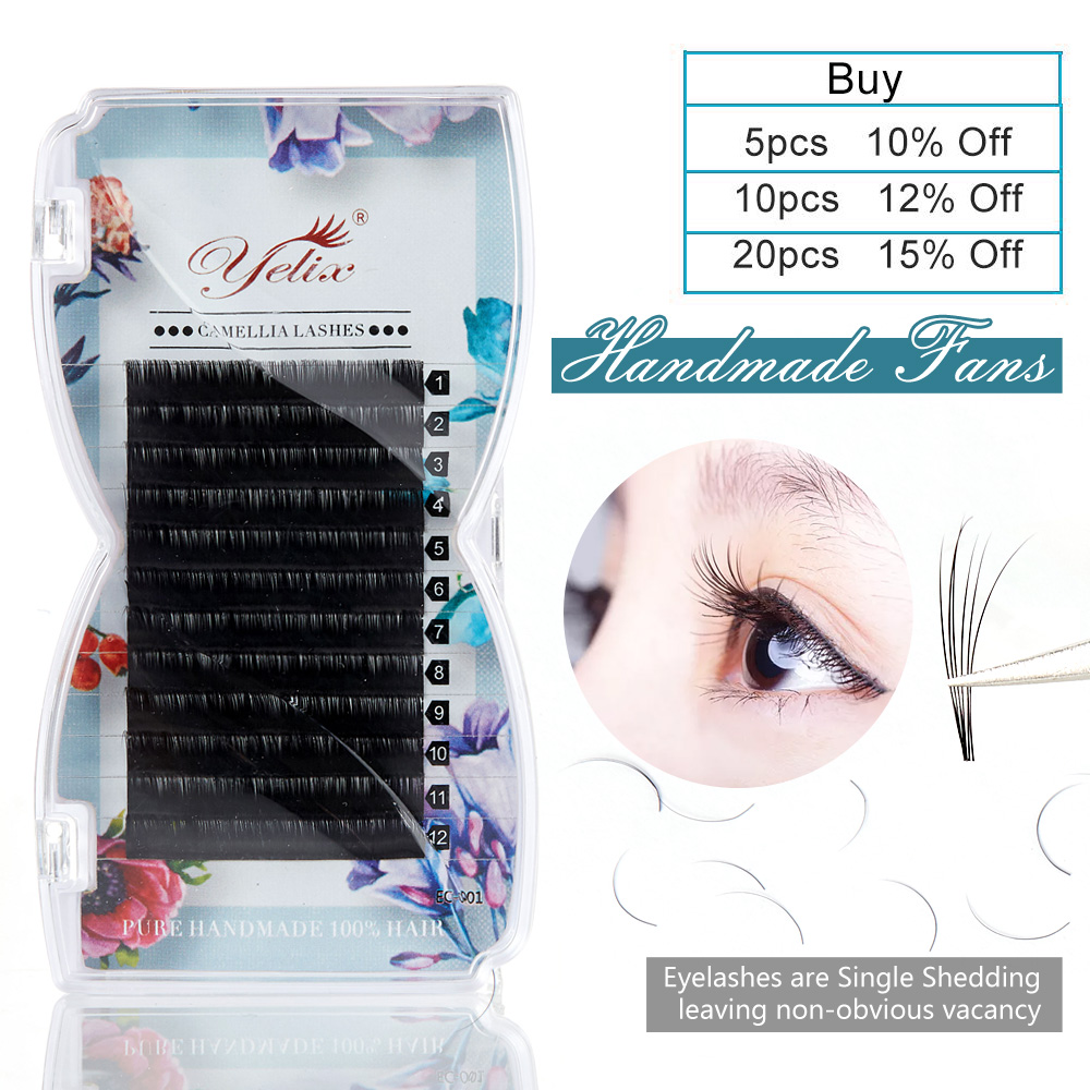 Yelix False Individual Camellia Lashes Easy Fan Eyelash Extension Mink Fast 3D-6D Volume Blossom Eyelashes Extensions Pandora
