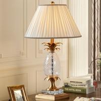 Luxurious Glass Pineapple Table Lamp Creative Art Copper Desk Lamp Vintage Living Room Bedroom Bedside Decorative Light Fixtures