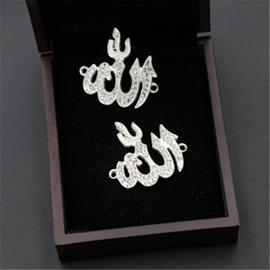 Image 2 - 8pcs โบราณ Sliver35 * 32 มม.Rhinestone อิสลามอัลลอฮ์ Connector ศาสนา Musli Charm จี้สำหรับสร้อยข้อมือ DIY สร้อยคอเครื่องประดับ