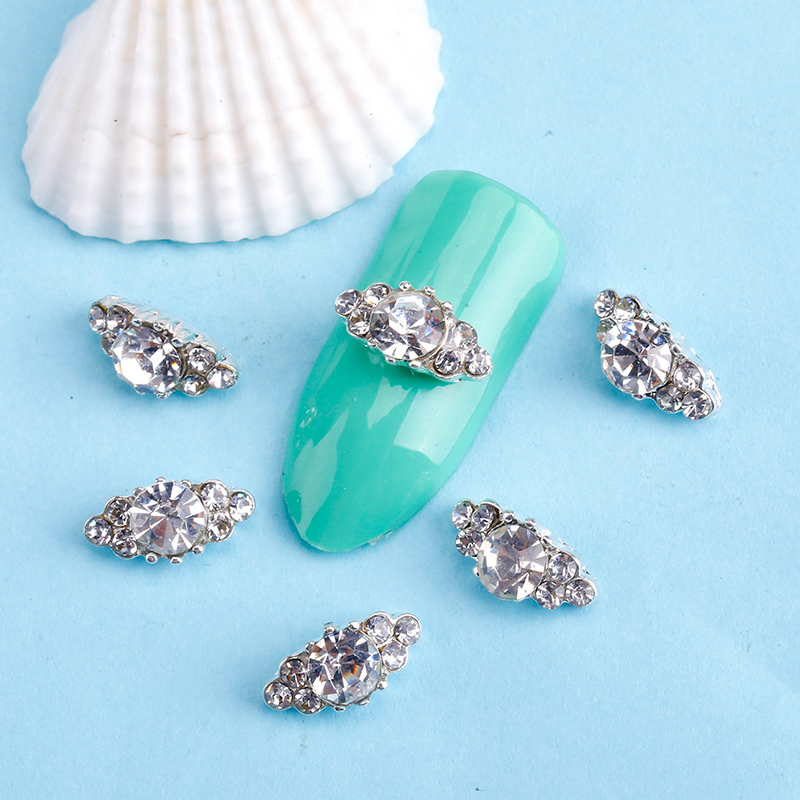 Blueness 10Pcs 3D Nail Art Decorations Diy Glitter Silver Alloy Charm Clear Rhinestones Crystal Marquise Nail Accessories