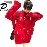 2018 new Korean loose wild Christmas graffiti knitting cotton sweater women warm fashion Long sleeve O neck sweaters