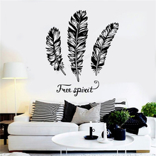 Wall Decoration Feathers Room Sticker Vinyl Art Removeable Poster Free Spirit Ethnic Mural Modern Fashion Ornament LY305