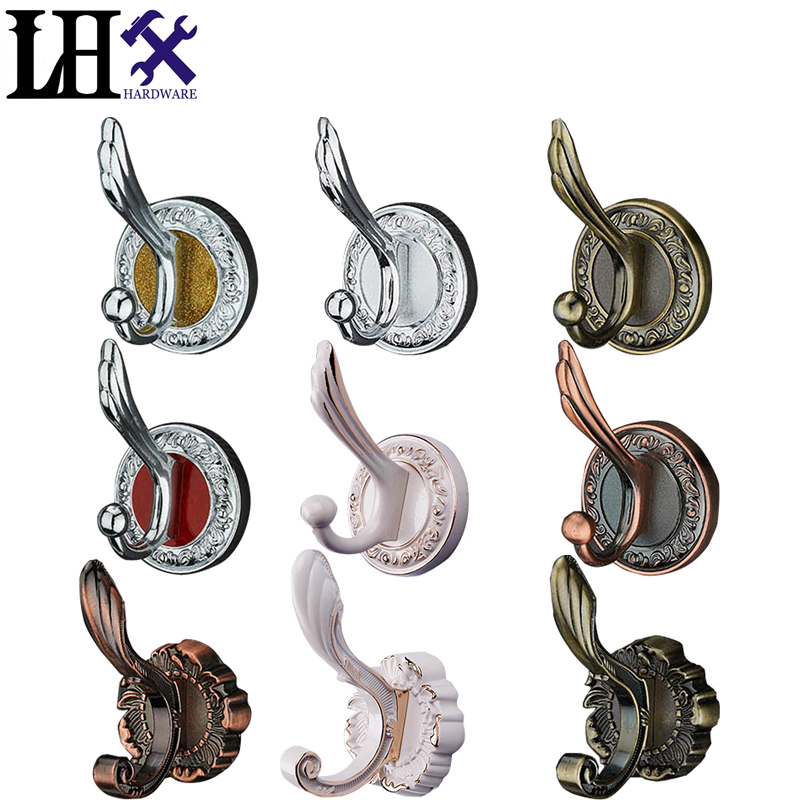 New Vintage Home Kitchen Wall Door Hanger Zinc Alloy Single Clothes Hook Stick Holder Hanger Hook With 12 Styles fixmee 50pcs white plastic invisible wall mount photo picture frame nail hook hanger
