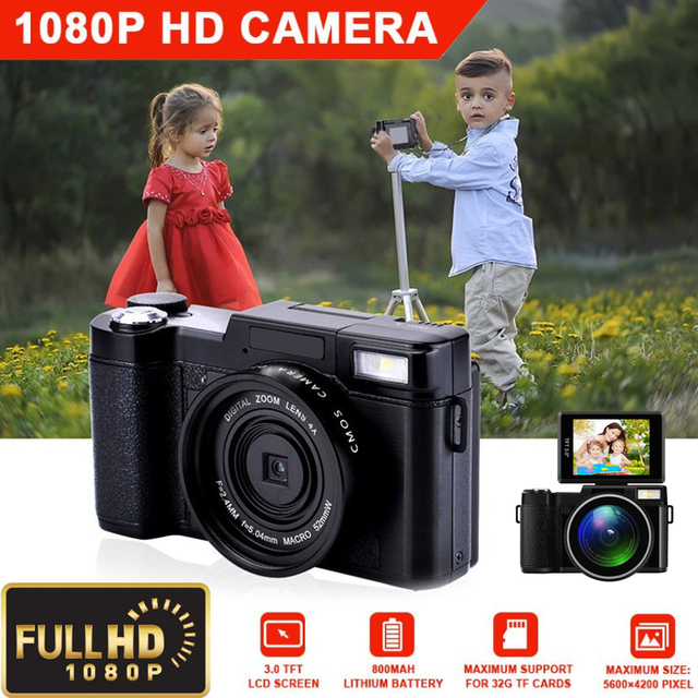 Chuyên nghiệp 3.0 inch Hiển Thị 4X Zoom Full HD 24MP 1080 P Máy Ảnh Kỹ Thuật Số Video Máy Quay Phim DVR Ghi