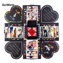 OurWarm DIY הפתעה אהבה פיצוץ קופסא מתנה פיצוץ ליום נישואים Scrapbook DIY אלבום תמונות מתנת יום הולדת 15x15x15cm