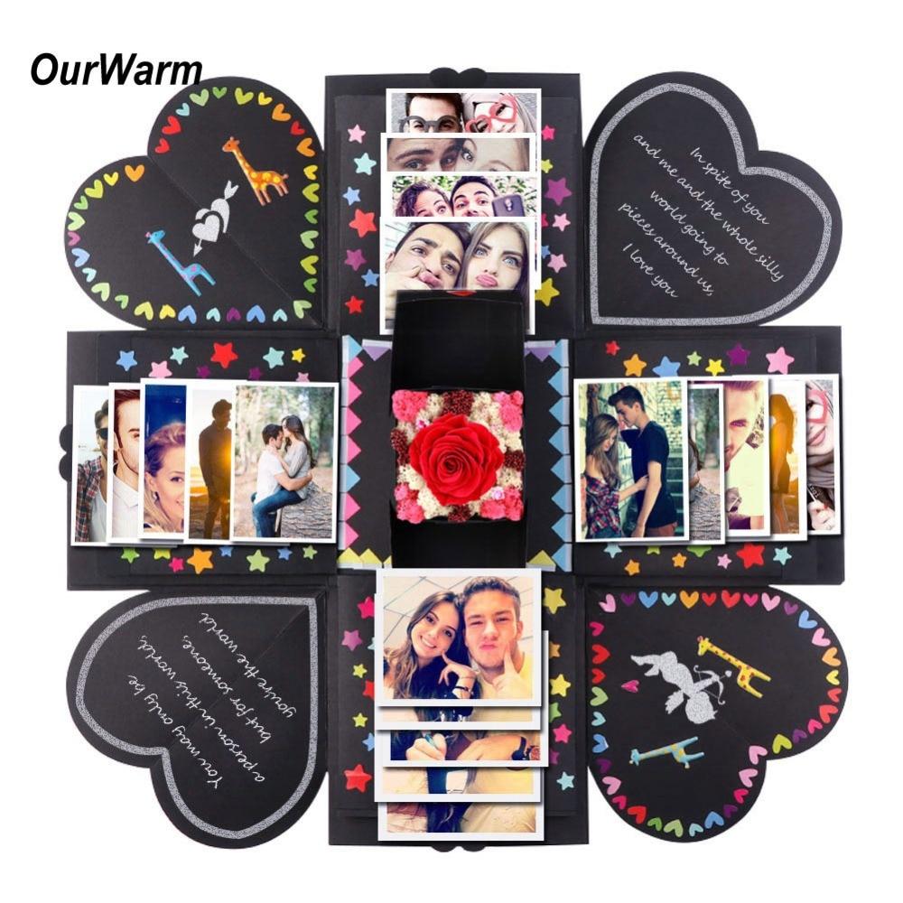 OurWarm DIY sorpresa explosión de amor de regalo de la caja de explosión para aniversario Scrapbook DIY álbum de fotos, regalo de cumpleaños de 15x15x15 cm