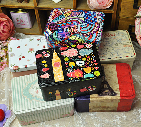 Graffiti Wind Storage Box With Lid Biscuit Candy Tin Box Sundries Storage Case Multi-style Collectible Bins