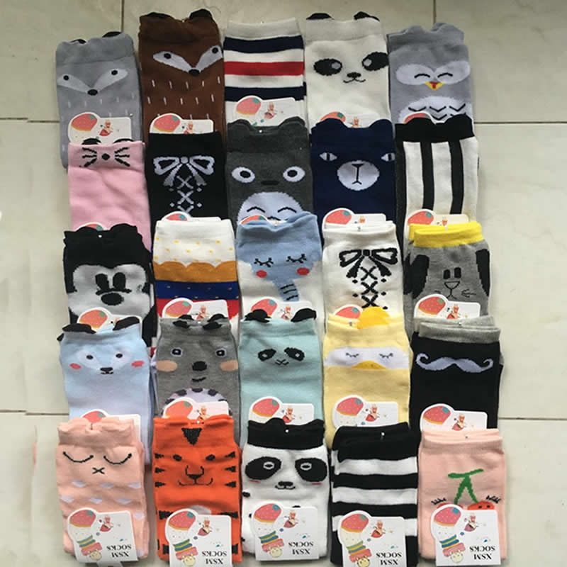 22 Colour Children's Socks Infant Kids Knee High Girl Cartoon Bear Print Toddler Baby Socks Cotton Knee High Short Socks Wholesa
